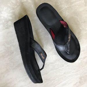 Coach Jolene Platform Wedge Flip Flops Black 8.5
